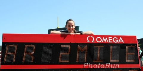 Shannon Rowbury after breaking the U.S. 2-mile record.