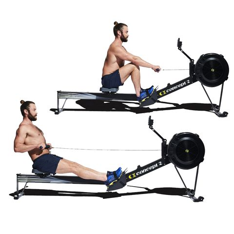 Exercise machine, Exercise equipment, Indoor rower, Gym, Sports equipment, Physical fitness, Free weight bar, Bench, Fitness professional, Arm,