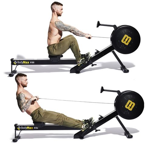 exercise machine, exercise equipment, indoor rower, free weight bar, gym, sports equipment, bench, physical fitness, weightlifting machine, weights,