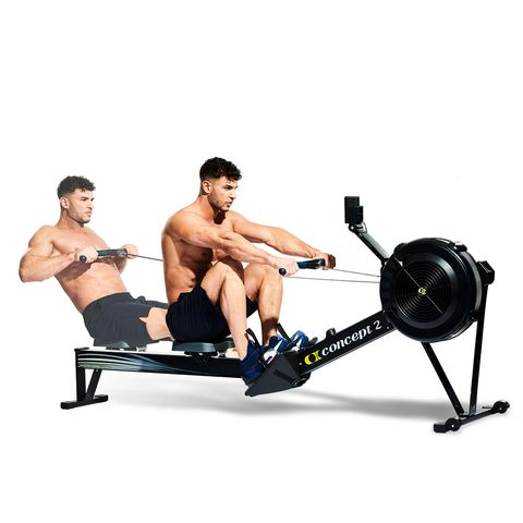 Exercise equipment, Exercise machine, Indoor rower, Sports equipment, Free weight bar, Bench, Fitness professional, Muscle, Physical fitness, Gym,