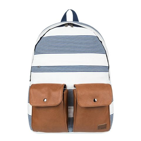 roxy stop and share striped blue backpack