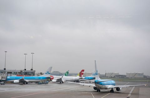 KLM Royal Dutch Airlines planes are seen at Amsterdam...