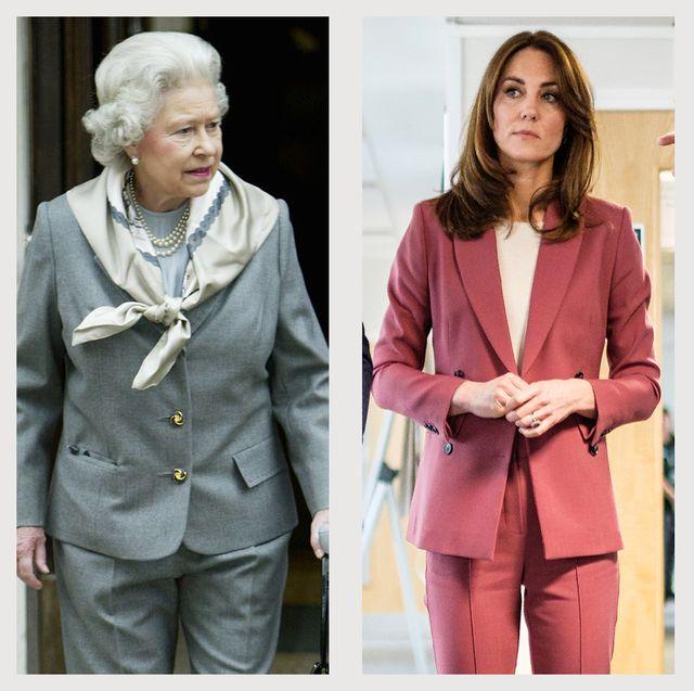 royal family wearing pantsuits meghan markle queen elizabeth kate middleton princess anne