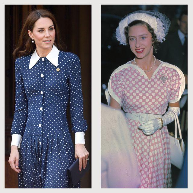royal family princess diana kate middleton princess margaret queen elizabeth wearing polka dots