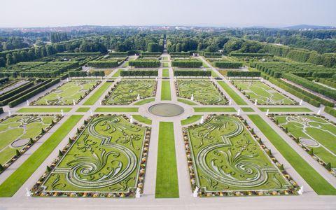 An overhead photo of theHerrenhausen Gardens in Germany