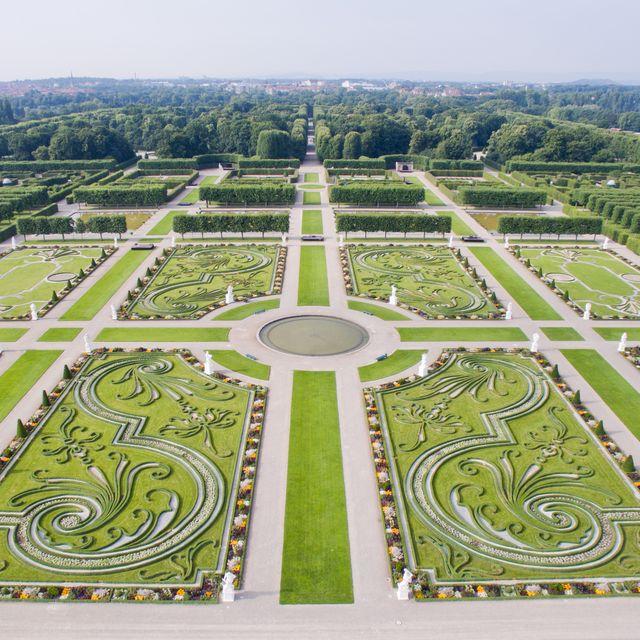 An overhead photo ofHerrenhaus Gardens in Germany