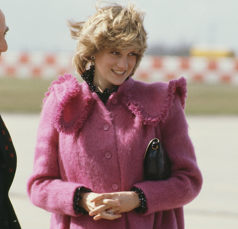 diana, princess of wales, wearing a pink mohair bellville sassoon maternity coat, in huddersfield, uk, 22nd march 1982