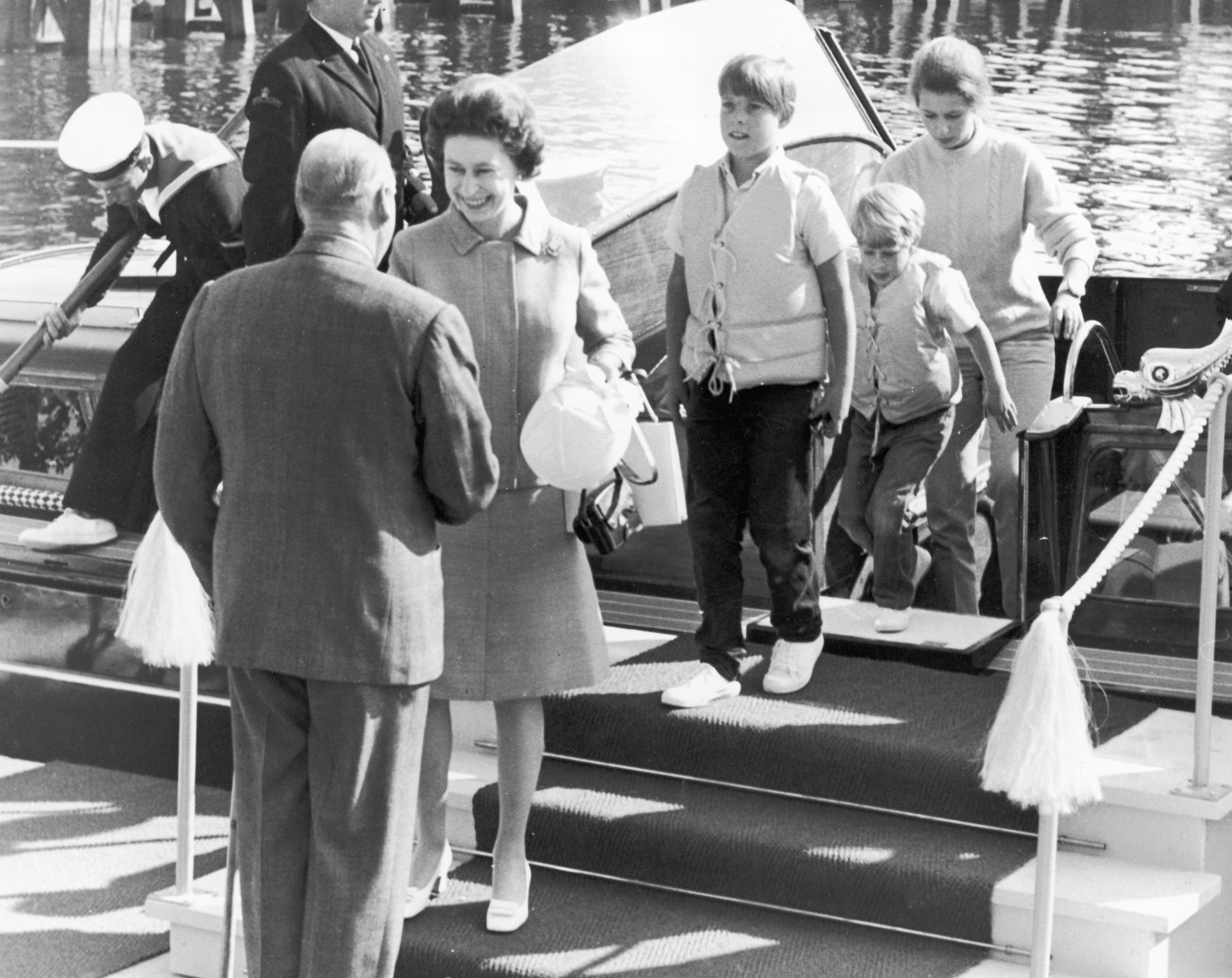 Royal Tour, The Queen meeting King Olaf of Norway. Prince Edward, Prince Andrew and Princess Anne. 13th June 1969.