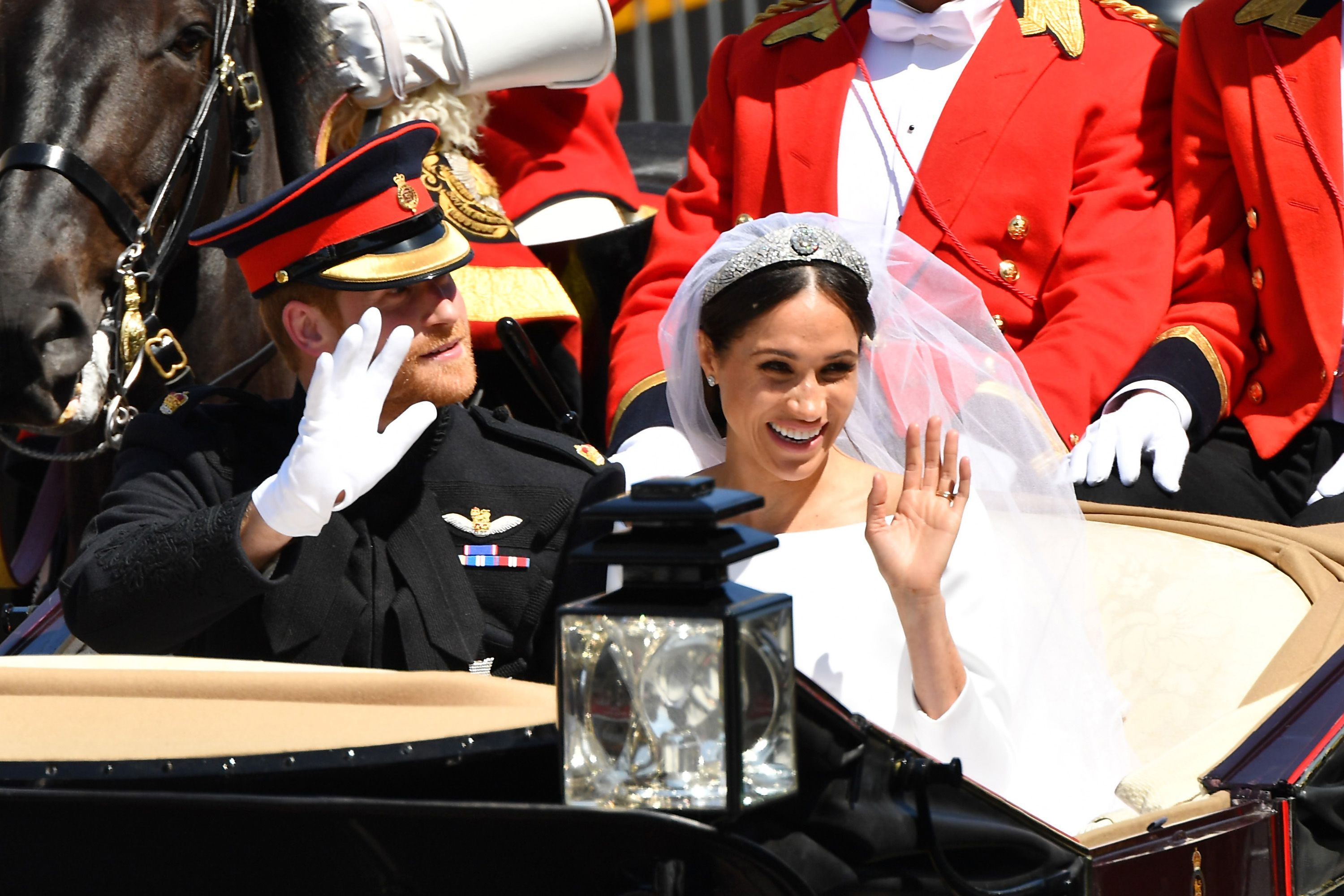 Meghan and Harry's wedding carriage is now on display at Buckingham Palace