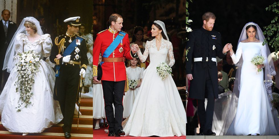 Princess Diana, Meghan Markle, and Kate MIddleton Royal Wedding Gown ...