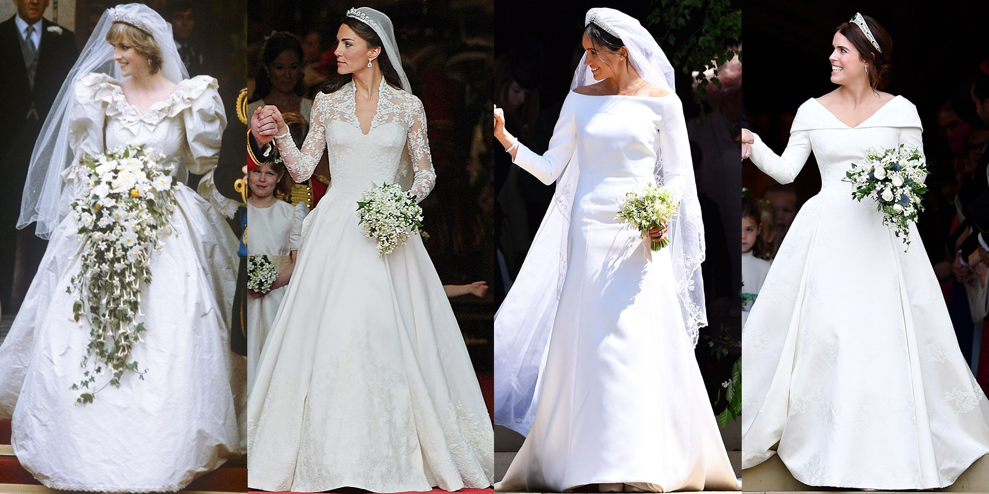 How Princess Eugenie's Wedding Dress Compares to Meghan Markle, Kate Middleton, and Princess Diana's Gowns