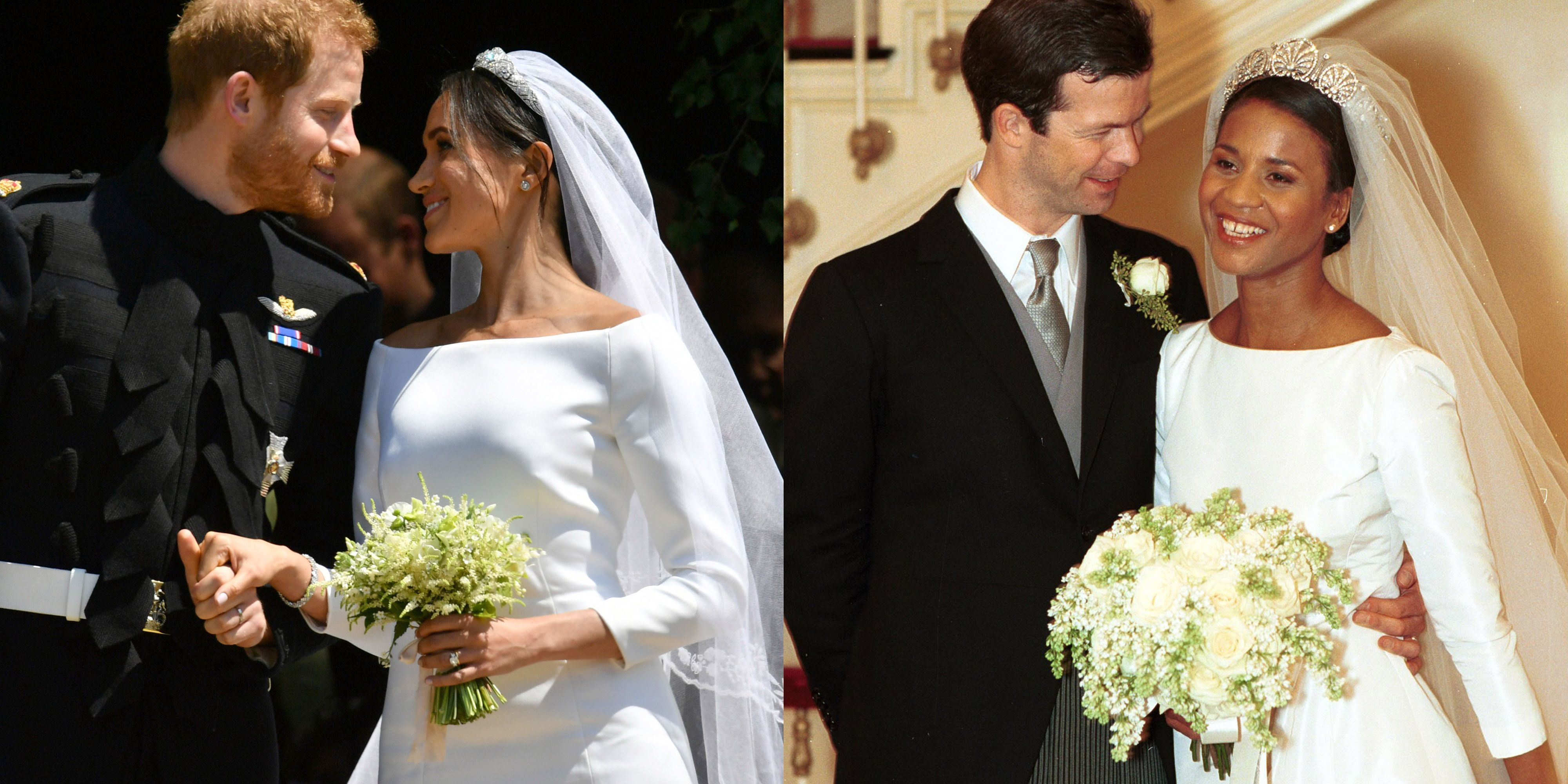 meghan markle s royal wedding dress compared to princess angela of liechtenstein s meghan markle s royal wedding dress