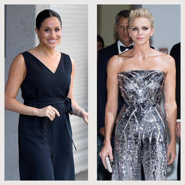 royals wearing jumpsuits queen rania meghan markle princess charlene princess diana