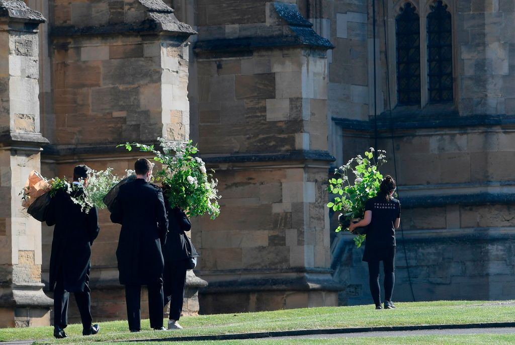 Flowers arrive at St George's Chapel in Windsor Castle ahead of the wedding.