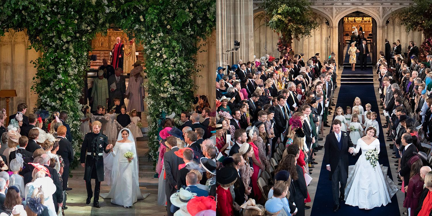 Differences in royal family fortunes were on display at the 2018 nuptials of Prince Harry (6th in line to the throne, left) and Princess Eugenie (9th).