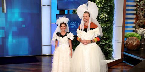 Sarah Hyland Wears a Wedding Dress While on Ellen