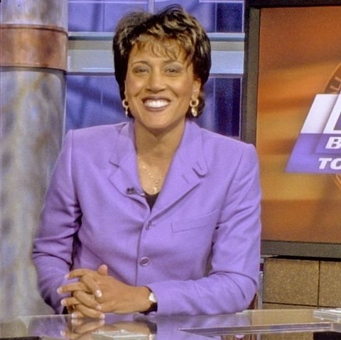 bristol, ct   march 1, 1997   espn campuson air talent member robin roberts is shown posing for a photo on the espn basketball tournament studio set back in 1997 photo by rich arden  espn images