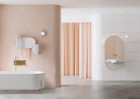 Tile, Room, Bathroom, Floor, Plumbing fixture, Wall, Interior design, Ceramic, Material property, Flooring,