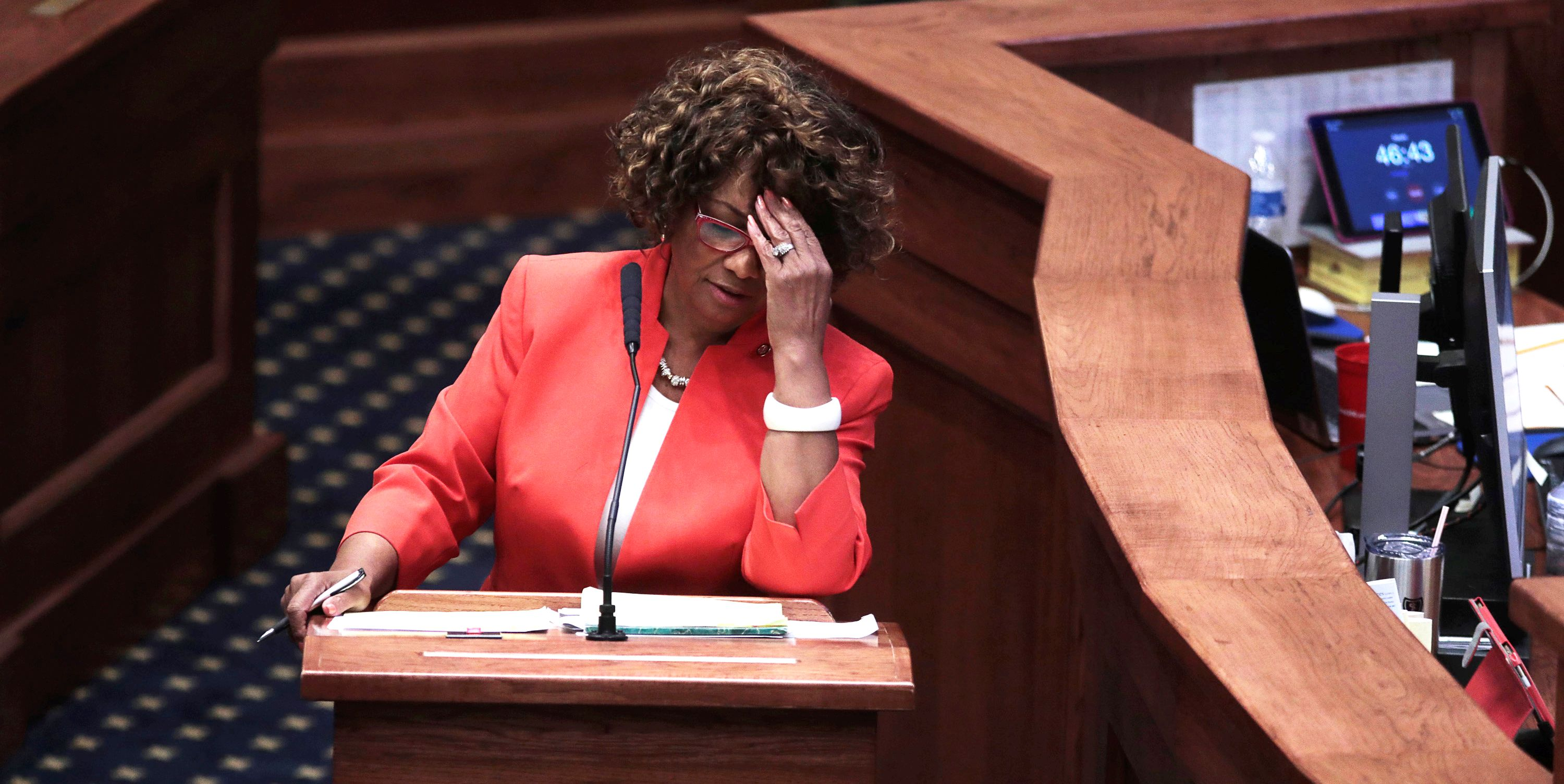 Senator Linda Coleman-Madison (D) speaks during a state Senate vote on the strictest anti-abortion†bill in the United States at the Alabama Legislature in Montgomery