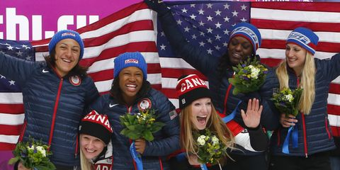 Womens bobsled including Lauren Williams in 2014 Olympics