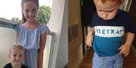 T-shirt, Child, Product, Toddler, Arm, Shoulder, Jeans, Denim, Sleeve, Top,
