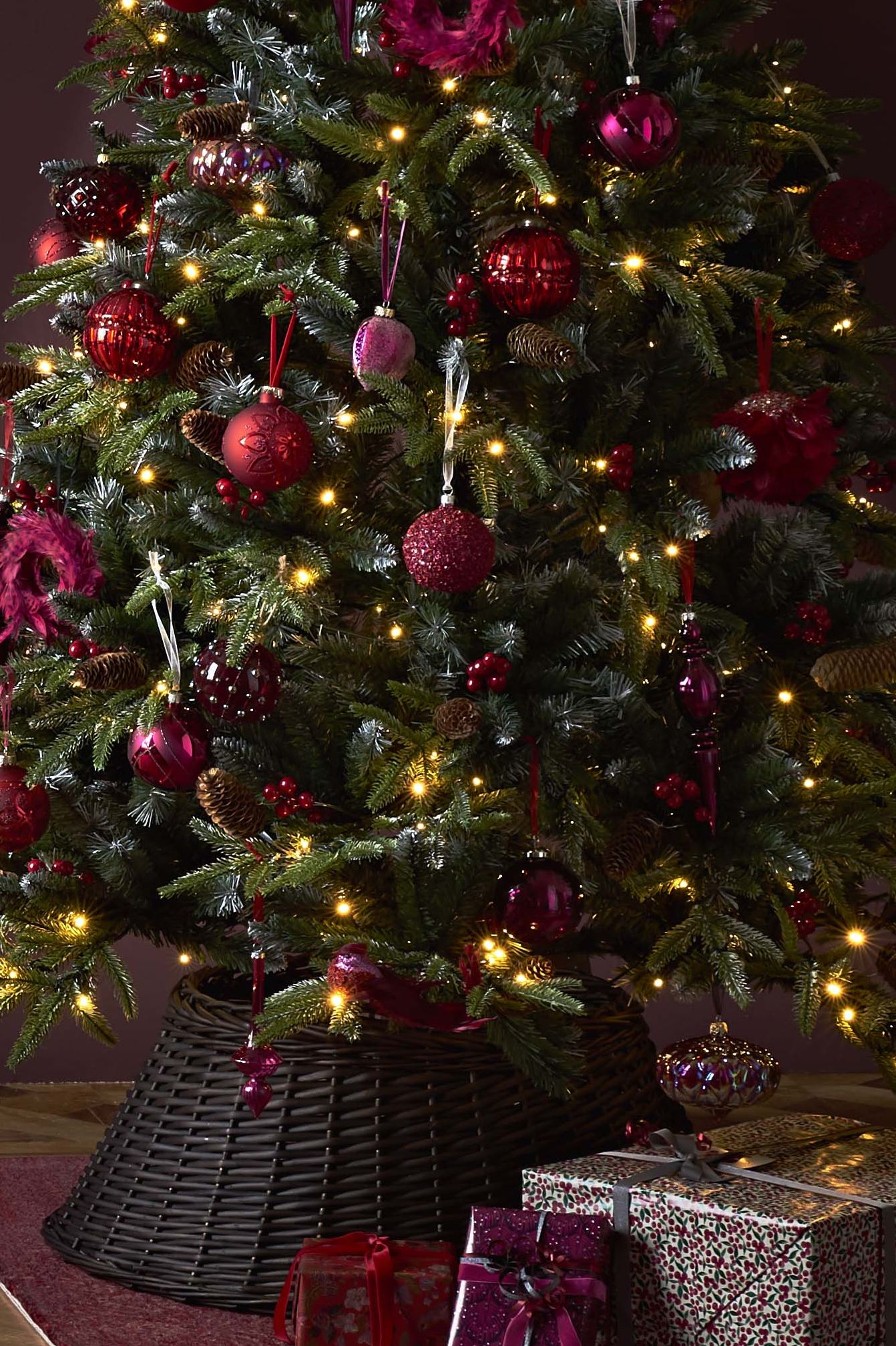 Wicker Christmas Tree Skirt - John Lewis Ruby Christmas Tree Decorations