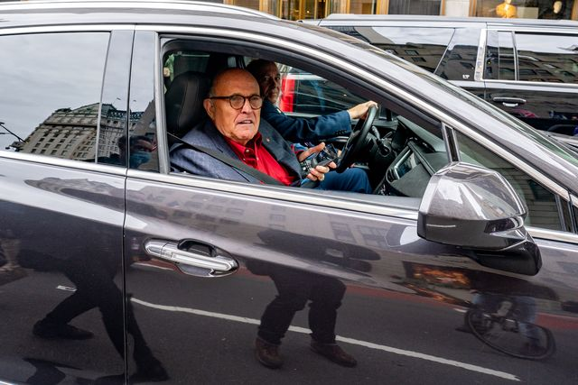 new york, ny   october 25 former new york city mayor and president trump's personal attorney rudy giuliani drives by a march and rally for president donald trump on october 25, 2020 in new york city as the november 3rd presidential election nears, trump supporters and protestors have taken to the streets to be heard photo by david dee delgadogetty images