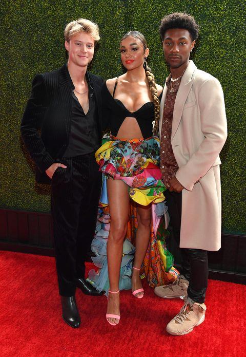 rudy pankow, madison bailey, and jonathan daviss at the 2021 mtv movie and tv awards