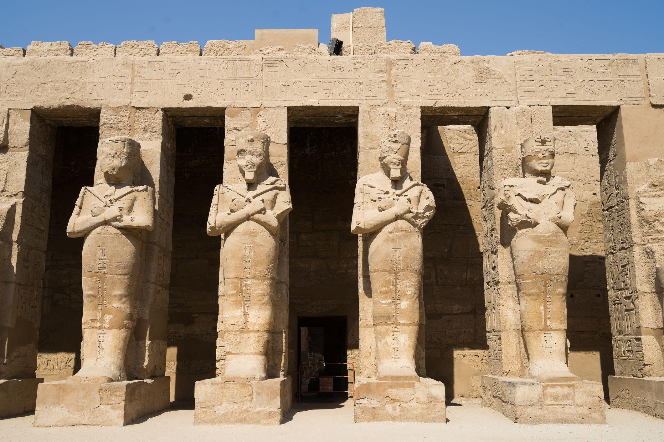 Ruins pharaoh statue at karnak temple  Luxor city Egypt