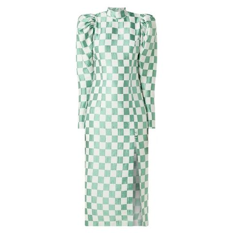 rotate    theresa   maxi jurk   ruitdessin en pofmouw
