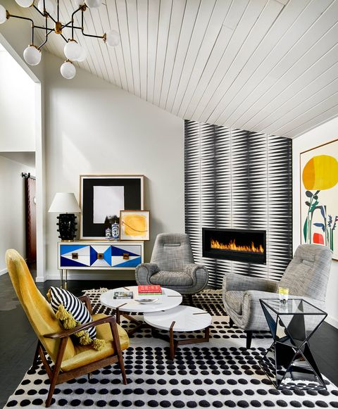 living room with graphic rug