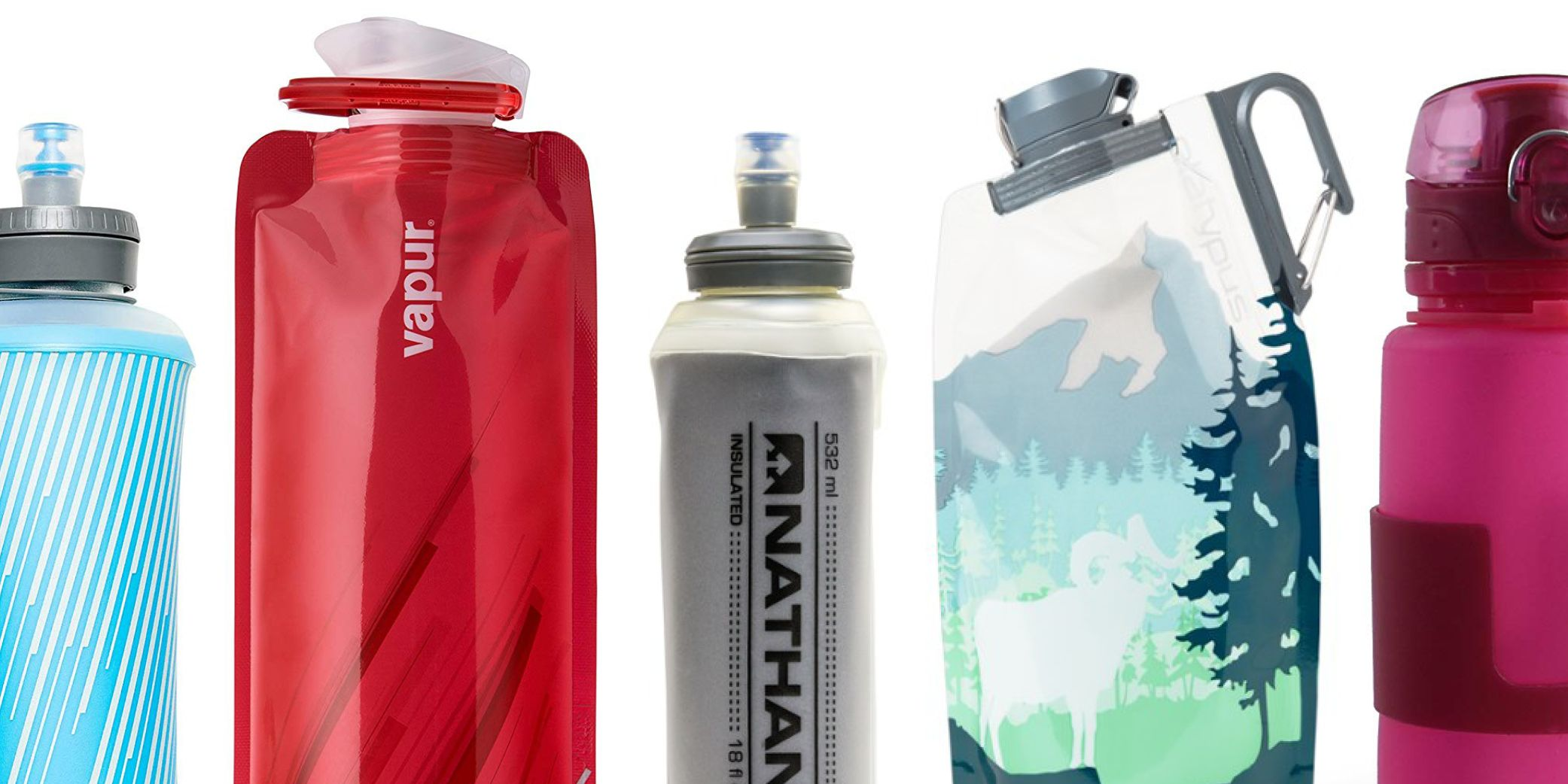 Folding Outdoor Hiking Water Bottle Reusable Collapsible Soft Flask Gift Pack