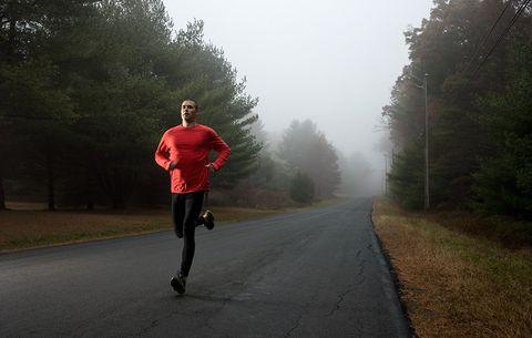 model running on road