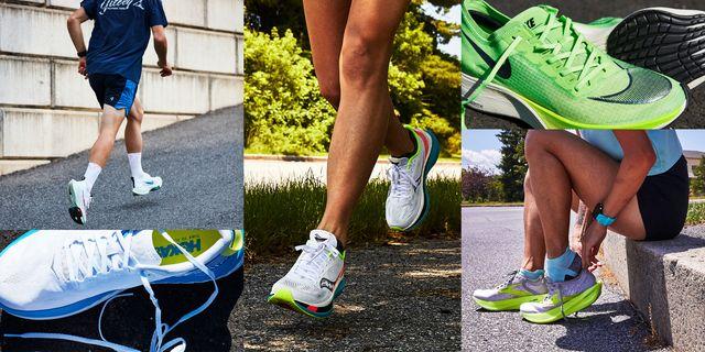 varias zapatillas de running con fibra de carbono