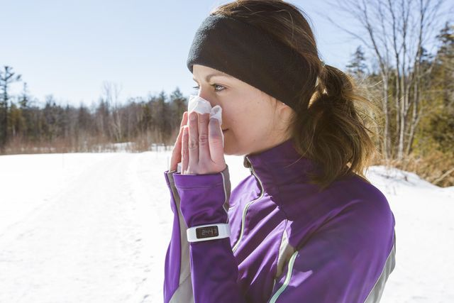 running with a cold   blowing nose