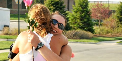 Runners Hugging