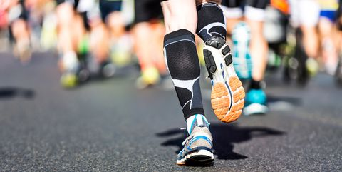 Running legs at a marathon