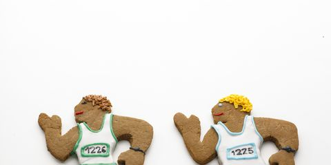 A pair of running Christmas cookies