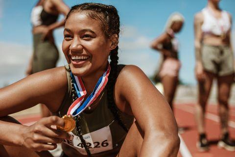 running race winner in track