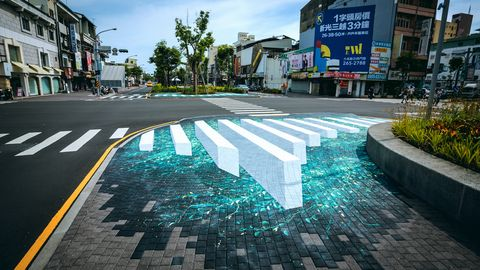 Road, Pedestrian crossing, Asphalt, Street, Architecture, Reflection, Town, Sky, Infrastructure, Road surface,