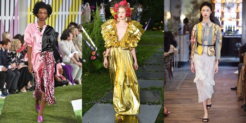 Fashion model, Fashion, Clothing, Haute couture, Yellow, Dress, Runway, Fashion design, Outerwear, Street fashion,