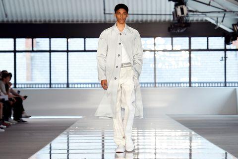 Runway, Fashion model, Fashion, White, Fashion design, Fashion show, Architecture, Haute couture, Model,