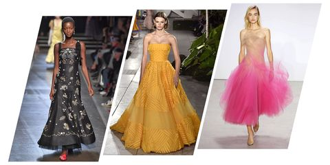 Dress, Fashion model, Clothing, Gown, Fashion, Shoulder, Yellow, Haute couture, Pink, Formal wear,