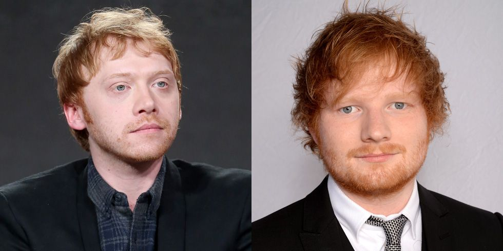 "Rupert Grint and Ed Sheeran The Harry Potter star says people think he's Sheeran about as often as they think he's himself. ""It's kinda 50/50 now. It's like if someone stops me, it could go either way. I could be Ed or I could be me,"" he said during an appearance on The Late Late Show."