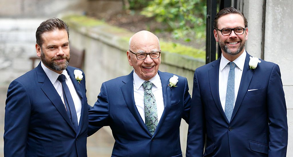 Rupert Murdoch with his sons James (right) and Lachlan at his 2016 wedding to Jerry Hall.
