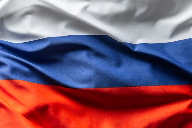 russia flag blowing in the wind