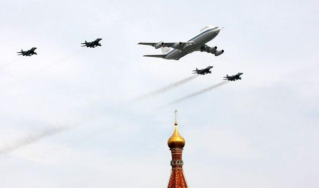 a russian il 80 plane and fighter jets s