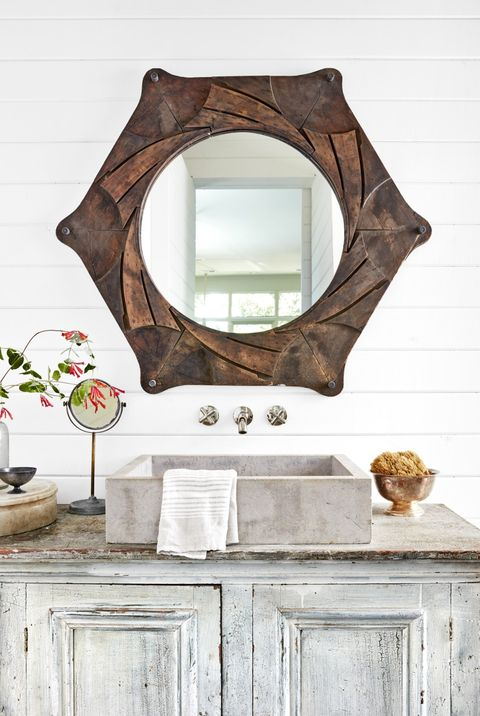 dye-cut bathroom mirror