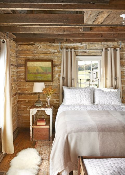 rustic bedroom ideas exposed stone walls