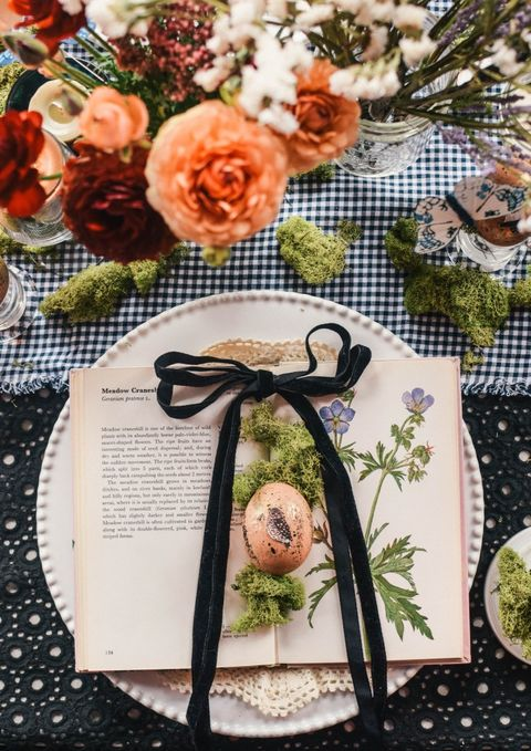 rustic moss book easter place setting